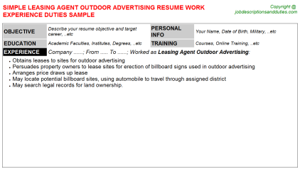 Leasing Agent Outdoor Advertising Job Resume Template