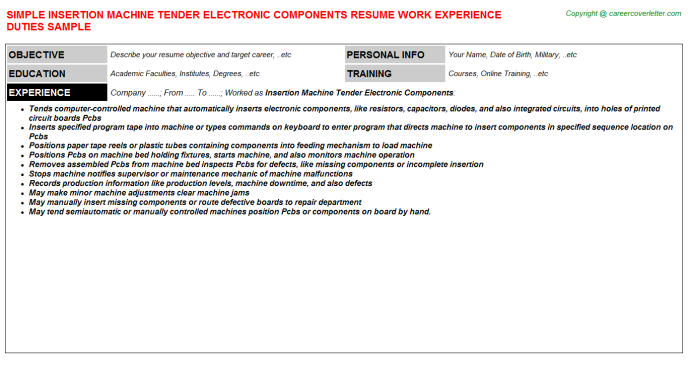 Insertion Machine Tender Electronic Components Resume Template