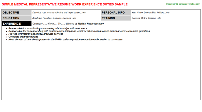 Medical Representative Resume Sample Template