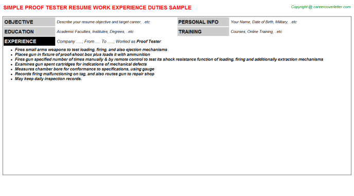 proof tester resume template