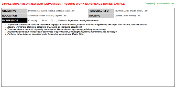 Supervisor Jewelry Department Resume Template