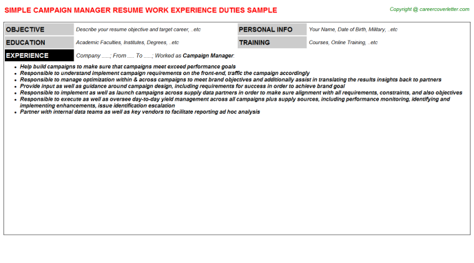Campaign Manager Resume Sample Template