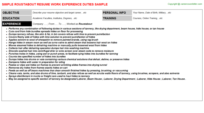 Roustabout Job Resume Template