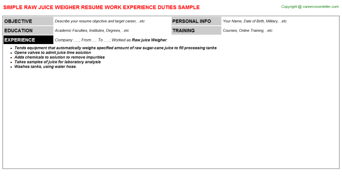 Raw juice Weigher Resume Template