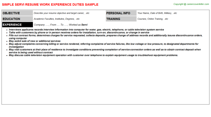 Servi Resume Sample Template