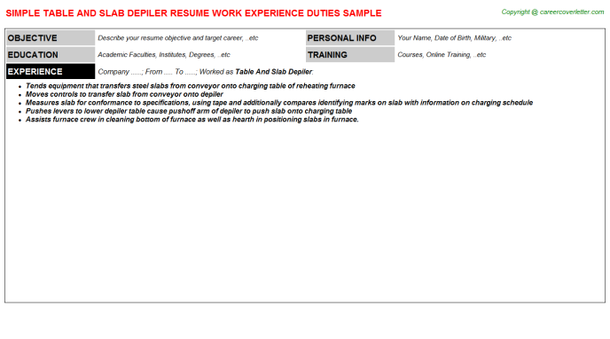 table and slab depiler resume template