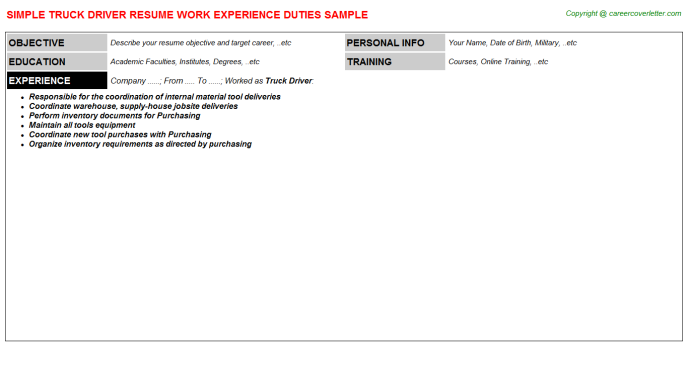 Truck Driver Resume Sample Template