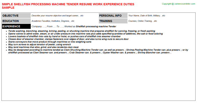 shellfish processing machine tender resume template