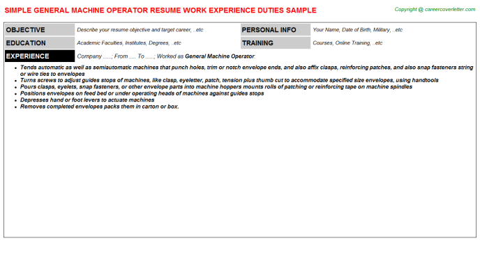 General Machine Operator Resume Template