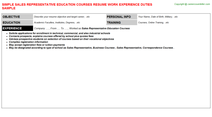 Sales Representative Education Courses Resume Template