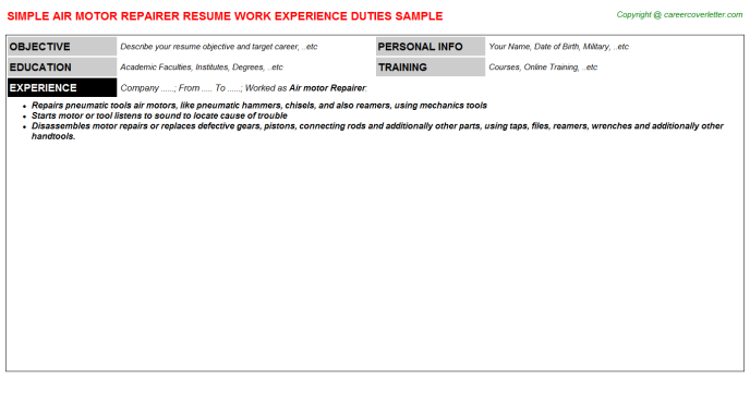 Air Motor Repairer Resume Template