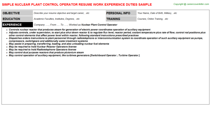 nuclear plant control operator job resume sample