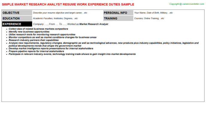 Market Research Analyst Resume Sample Template