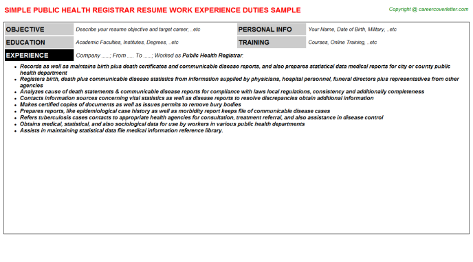 public health registrar resume sample