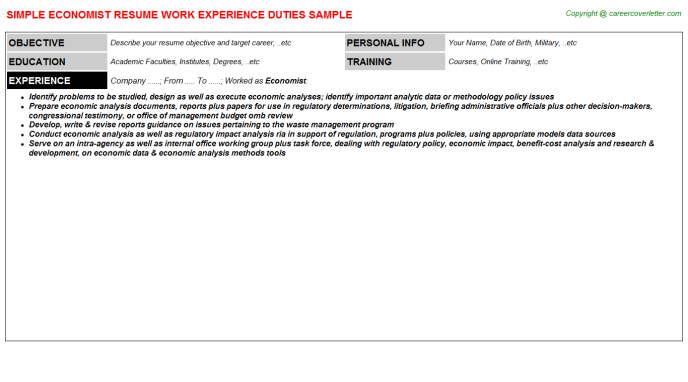 Economist Resume Sample Template