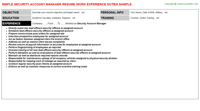 Security Account Manager Job Resume Sample