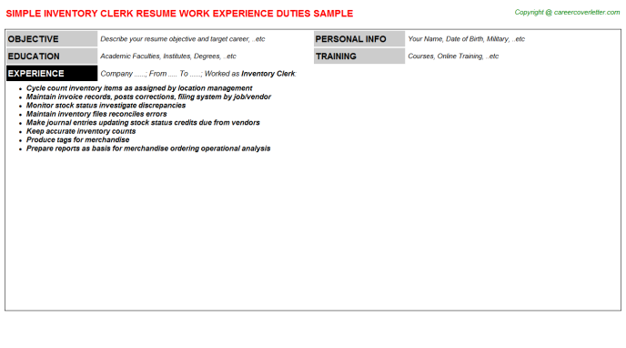 Inventory Clerk Resume Sample Template