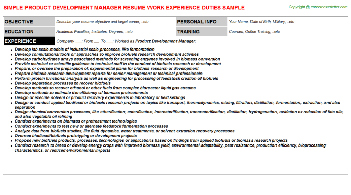 Product Development Manager Job Resume Template