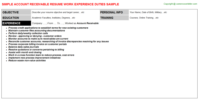 Account Receivable Resume Sample Template