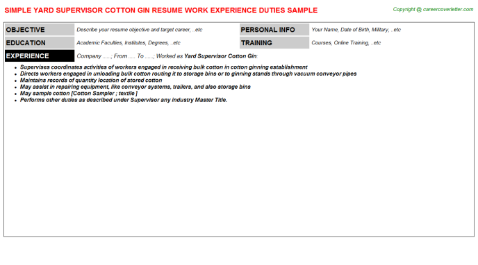 Yard Supervisor Cotton Gin Resume Template