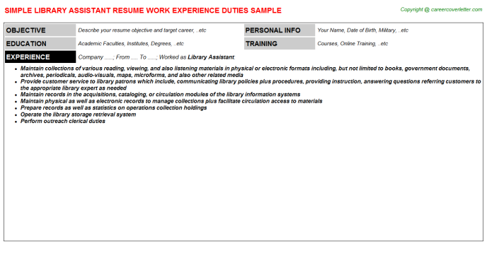 Library Assistant Resume Sample Template