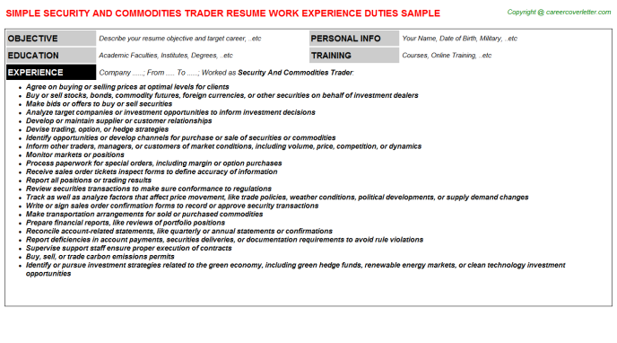 Security And Commodities Trader Job Resume Sample