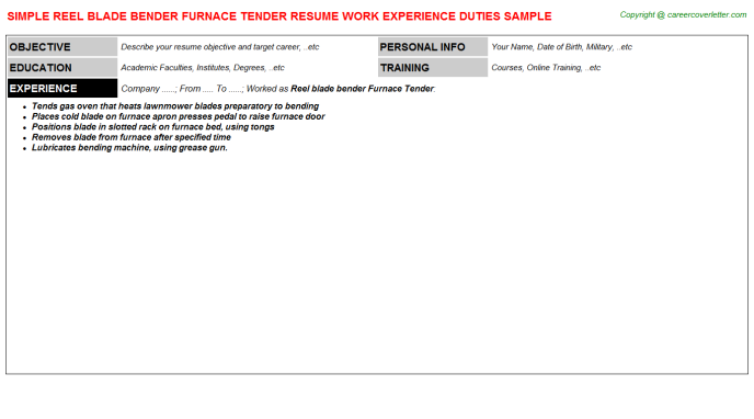 Reel blade bender Furnace Tender Job Resume Template