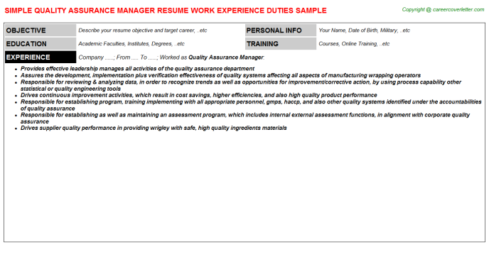 Quality Assurance Manager Job Resume Template