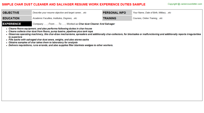 char dust cleaner and salvager resume template