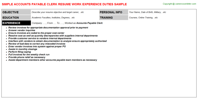 Accounts Payable Clerk Job Resume Template