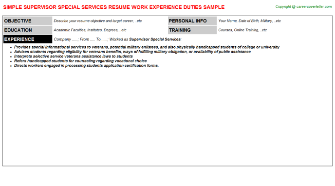 supervisor special services resume