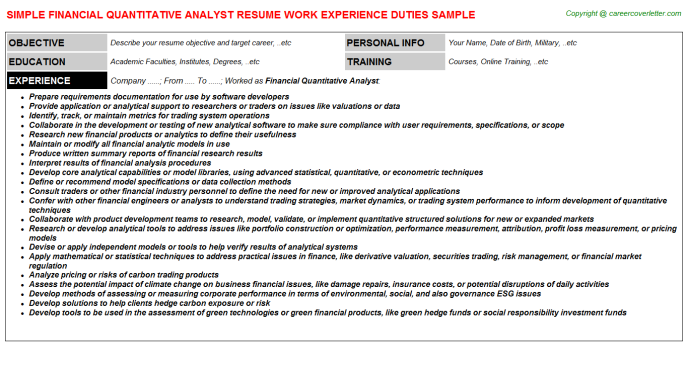 Financial Quantitative Analyst CV Resume Example