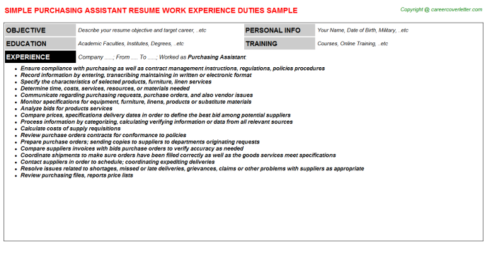 Purchasing Assistant Resume Sample Template