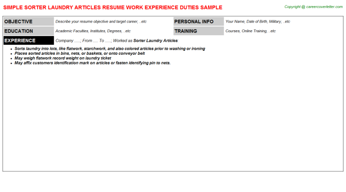 Sorter Laundry Articles Resume Template