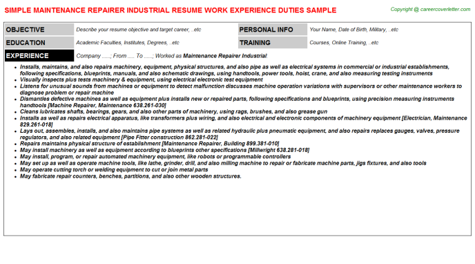Maintenance Repairer Industrial Resume Template