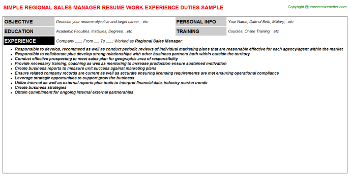 Regional Sales Manager Resume Sample Template