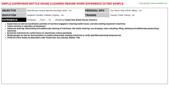 supervisor bottle house cleaners resume template