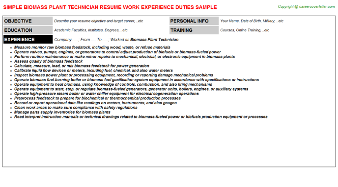 Biomass Plant Technician Resume Template