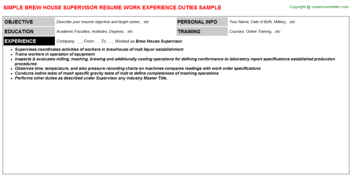 brew house supervisor resume template