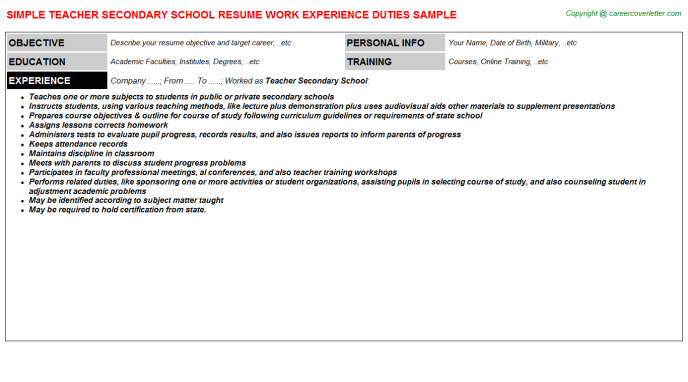 Teacher Secondary School Resume Template