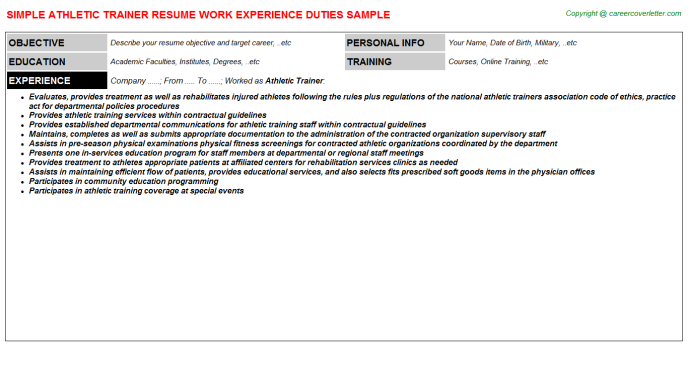 Athletic Trainer Resume Sample Template