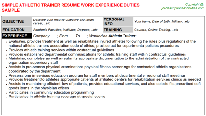 Athletic Trainer Job Resume Template