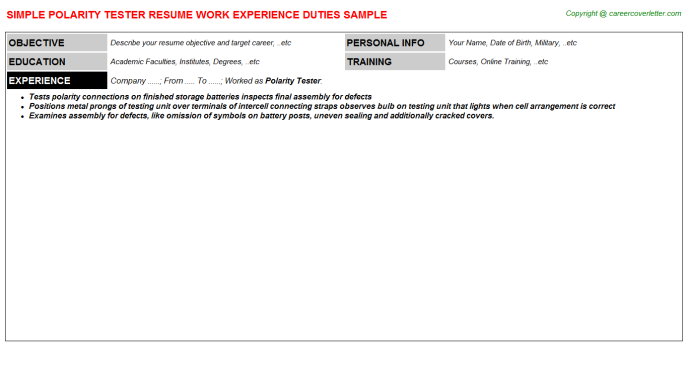 Polarity Tester Job Resume Template