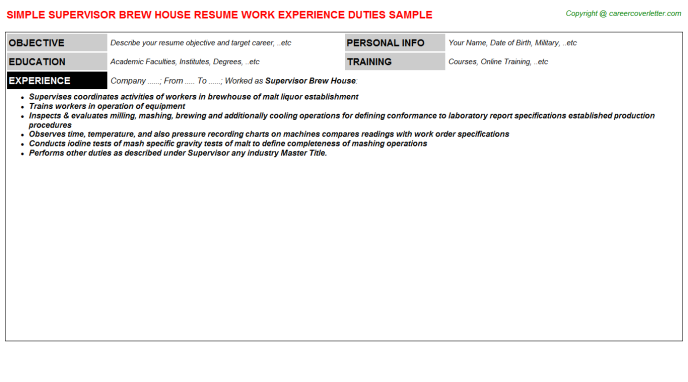 supervisor brew house resume template