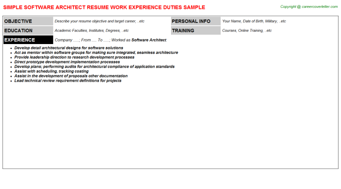 Software Architect Resume Sample Template