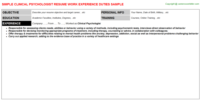 Clinical Psychologist Resume Sample Template