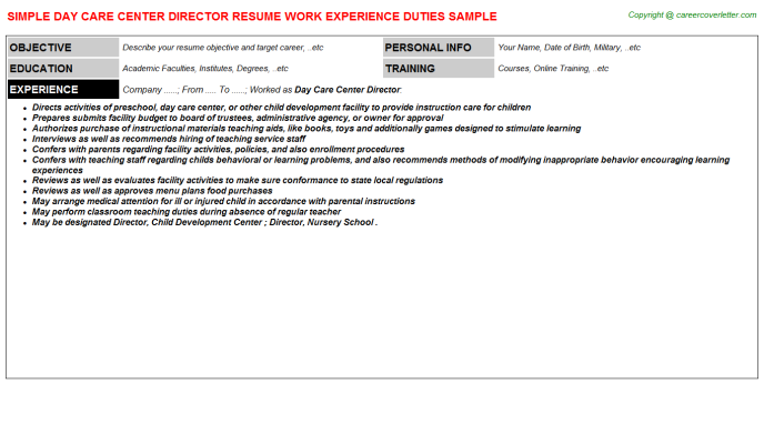 Day Care Center Director Job Resume Sample
