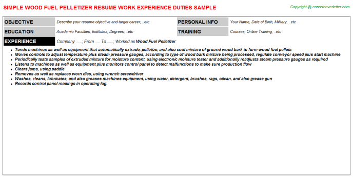 Wood fuel Pelletizer Resume Template