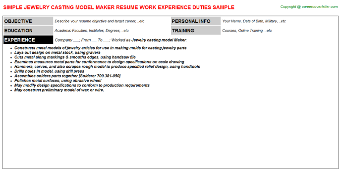 jewelry casting model maker job resumes