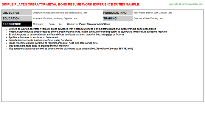 platen operator metal bond resume template